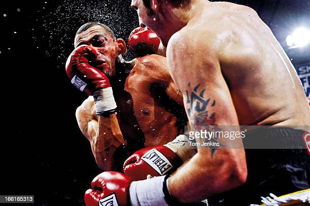 Nathan Cleverley , the British and Commonwealth light heavyweight tile holder, lands a punch on challenger Courtney Fry during their fight at York...