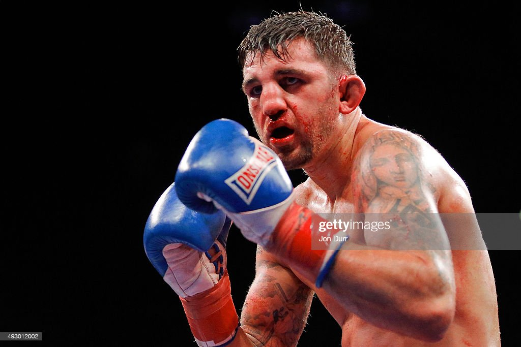 Nathan Cleverly during his fight against Andrzej Fonfara (not pictured) in the Main Event: Light Heavyweights fight at UIC Pavilion on October 16, 2015 in Chicago, Illinois. Andrzej Fonfara won by unanimous decision.
