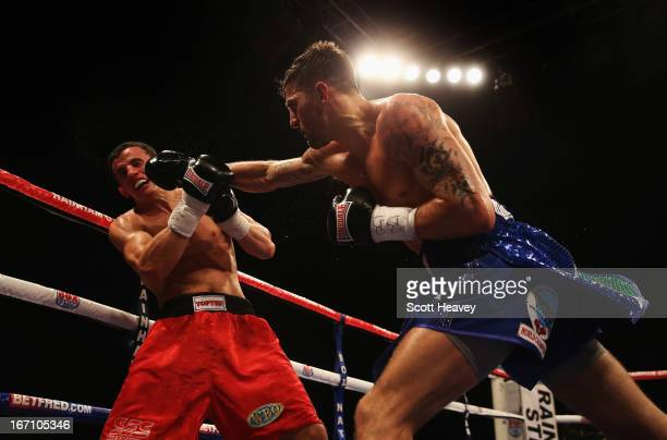 Nathan Cleverly in action against Robin Krasniqi during their WBO World Light-Heavyweight Championship bout at Wembley Arena on April 20, 2013 in...
