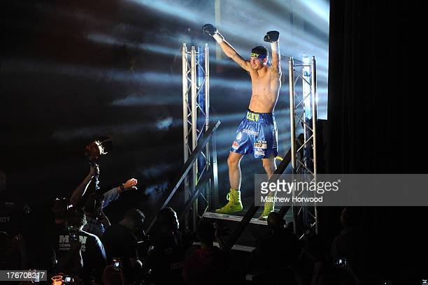 Nathan Cleverly makes his entrance before the start of his WBO World Light-Heavyweight Championship bout against Sergey Kovalev at the Motorpoint...