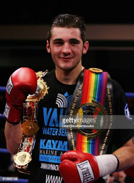 Nathan Cleverly of Wales poses with his belts after defeating Courtney Fry of England in their British & Commonwealth light-heavyweight fight at York...