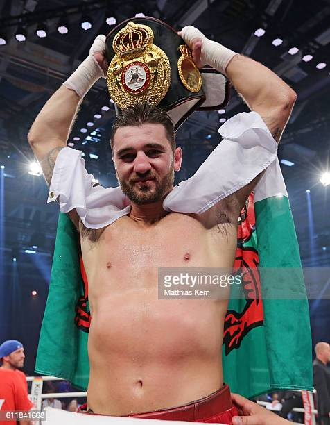 Nathan Cleverly poses after winning the WBA light heavyweight world championship title fight between Juergen Braehmer of Germany and Nathan Cleverly...