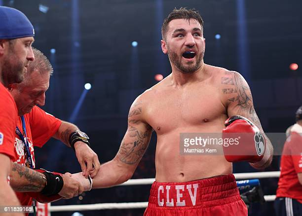 Nathan Cleverly shows his delight after winning the WBA light heavyweight world championship title fight between Juergen Braehmer of Germany and...