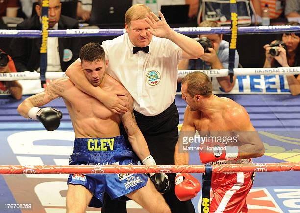 Nathan Cleverly suffers early defeat against Sergey Kovalev during the WBO World Light-Heavyweight Championship bout at Motorpoint Arena on August...