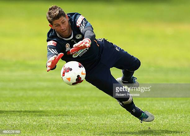 Nathan Coe makes a save during a Melbourne Victory ALeague training session at Gosch's Paddock on January 2 2014 in Melbourne Australia
