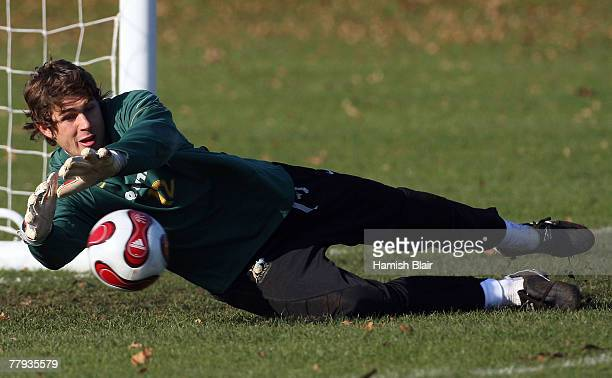 Nathan Coe of Australia makes a save during Socceroos training at the University of Westminster on November 15, 2007 in London, England.