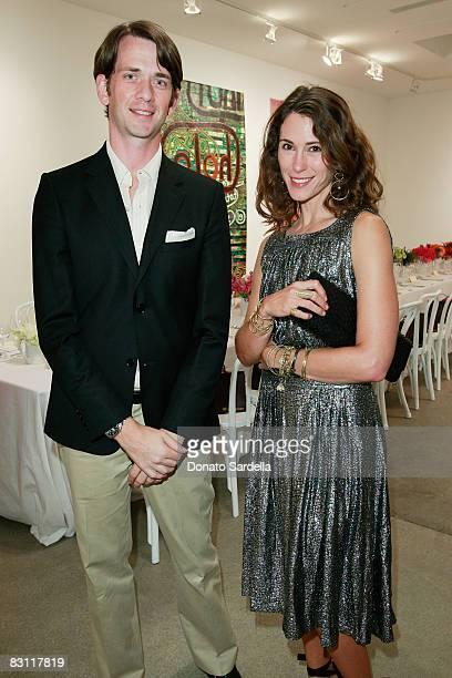 Nathan Cooper and Liseanne Frankfurt attend a dinner hosted by Vogue and Mulberry celebrating the work of Alexandra Grant on display at the 'Some...