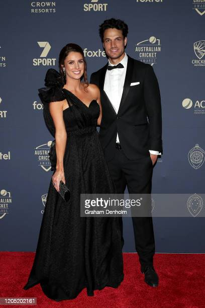 Nathan CoulterNile and Shani Blay arrive ahead of the 2020 Cricket Australia Awards at Crown Palladium on February 10 2020 in Melbourne Australia