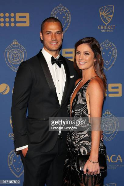 Nathan CoulterNile and Shani Blay arrive at the 2018 Allan Border Medal at Crown Palladium on February 12 2018 in Melbourne Australia