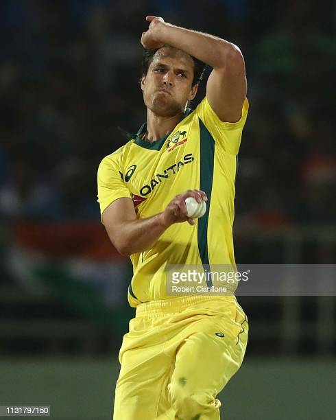 Nathan Coulter-Nile of Australia bowls during game one of the T20I Series between India and Australia at ACA-VDCA Stadium on February 24, 2019 in...