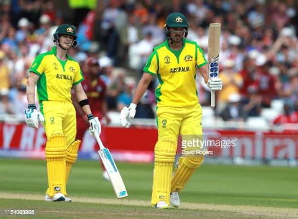 Nathan CoulterNile of Australia celebrates his half century during the Group Stage match of the ICC Cricket World Cup 2019 between Australia and the...