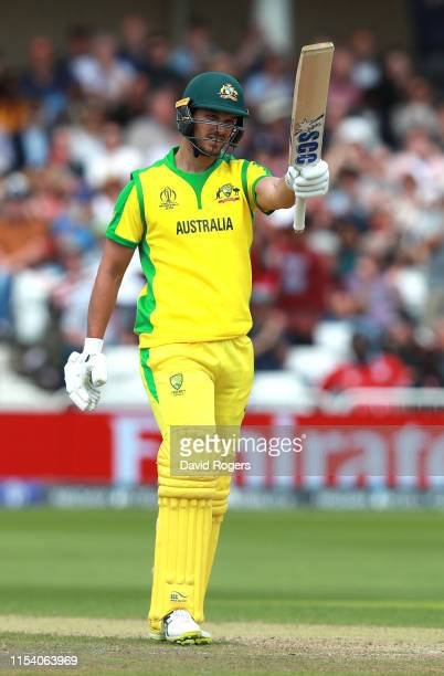 Nathan Coulter-Nile of Australia celebrates his half century during the Group Stage match of the ICC Cricket World Cup 2019 between Australia and the...