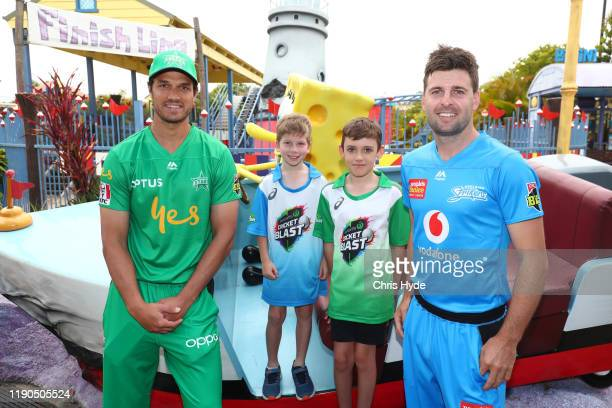 Nathan CoulterNile of Melbourne Stars and Liam O'Connor of Adelaide Strikers pose with fans during the Big Bash League X Nickelodeon media...