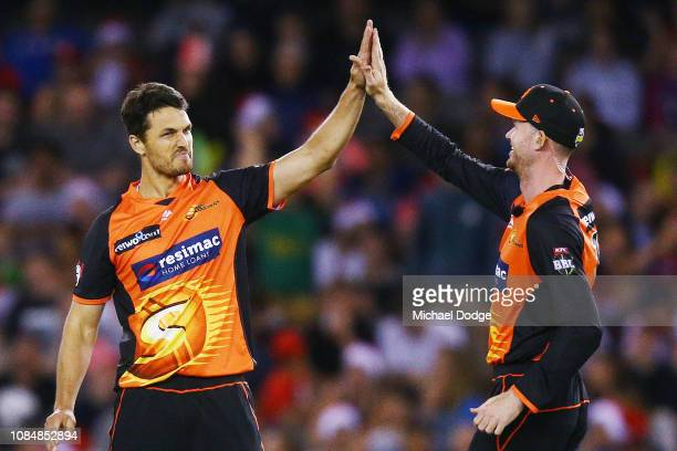 Nathan CoulterNile of the Scorchers celebrates a wicket during the Big Bash League match between the Melbourne Renegades and the Perth Scorchers at...