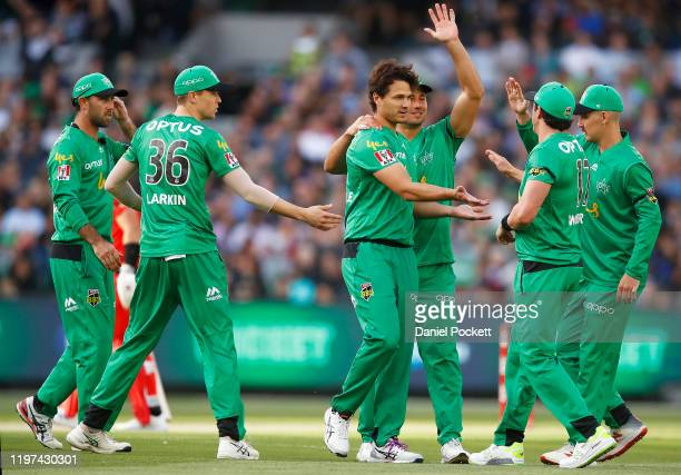 Nathan Coulter-Nile of the Stars celebrates with Daniel Worrall of the Stars after combining to dismiss Sam Harper of the Renegades during the Big...