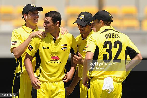Nathan CoulterNile of the Warriors celebrates with team mates the wicket of Tom Cooper of the Redbacks during the Matador BBQs One Day Cup match...