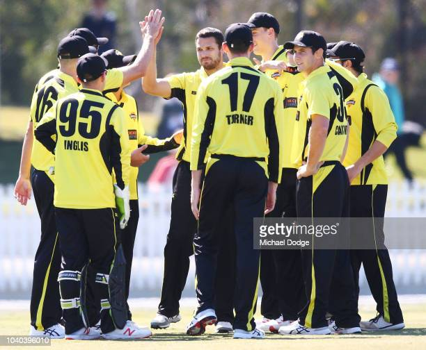 Nathan CoulterNile of Western Australia celebrates the wicket of Nic Maddinson of Victoria during the JLT One Day Cup between Victoria and Western...