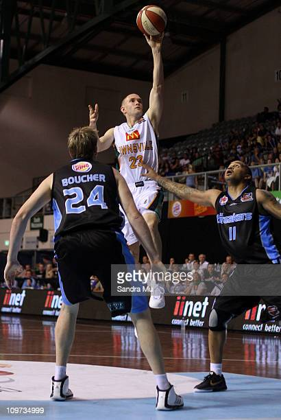 Nathan Crosswell of the Crocs shoots during the round 21 NBL match between the New Zealand Breakers and the Townsville Crocodiles at North Shore...
