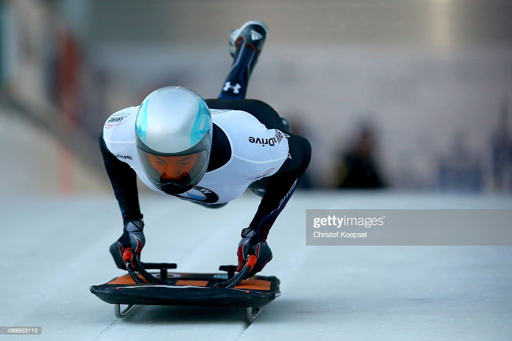 Nathan Crumpton competes in his first run of the men's skeleton competition during the BMW IBSF Bob & Skeleton Worldcup at Veltins Eis-Arena on December 4, 2015 in Winterberg, Germany.