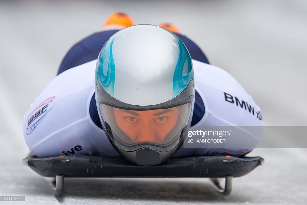 Nathan Crumpton of the US competes during the 2nd run of the men's Skeleton event of the Bobsleigh and Skeleton World Championships in Innsbruck/Igls, Austria, on February 18, 2016. / AFP / APA / Johann Groder / Austria OUT