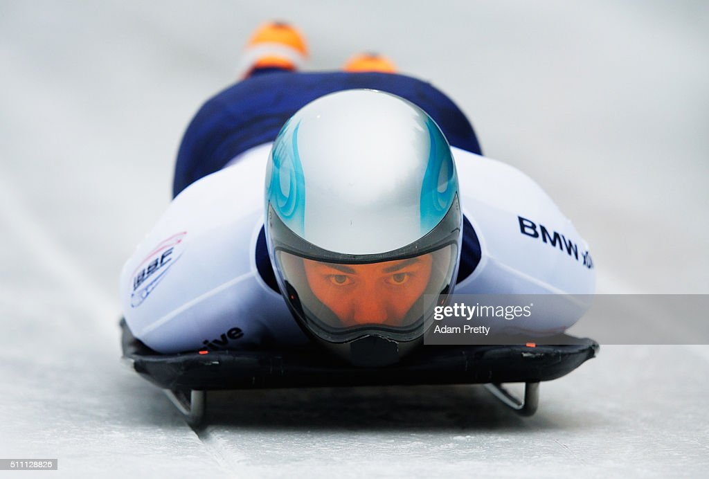Nathan Crumpton of the USA completes his second run of the Men's Skeleton during Day 4 of the IBSF World Championships 2016 at Olympiabobbahn Igls on February 18, 2016 in Innsbruck, Austria.