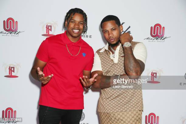 """Nathan Davis Jr. And Vedo attend a press meet & greet for the premiere of Vedo's single, """"Yesterday"""" on July 29, 2021 in Hollywood, California."""