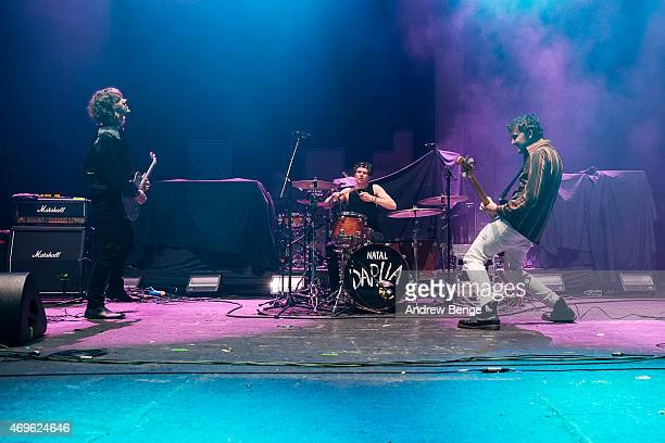 Nathan Day Jack Bentham and Dave Williams of Darlia perform on stage at Brixton Academy on April 13 2015 in London United Kingdom