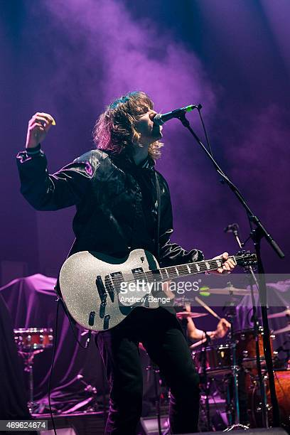 Nathan Day of Darlia performs on stage at Brixton Academy on April 13 2015 in London United Kingdom