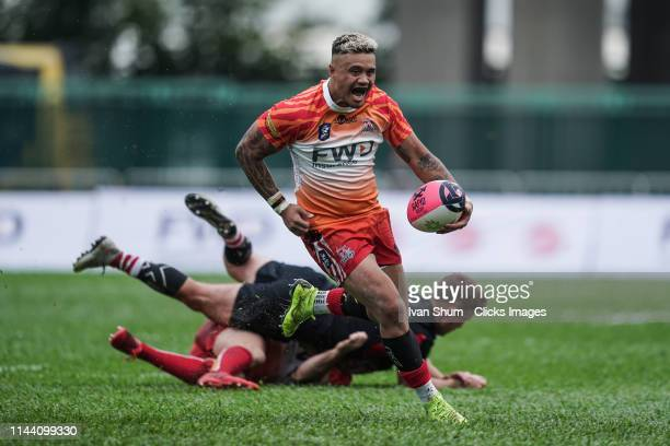 Nathan De Thierry of South China Tigers in action during the Global Rapid Rugby match between the South China Tigers and Asia Pacific Dragons at...