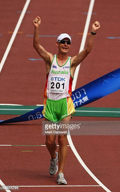 Nathan Deakes of Australia celebrates winning the Men's 50k Race Walk on day eight of the 11th IAAF World Athletics Championships on September 1 2007...