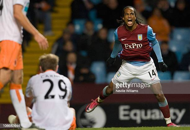 Nathan Delfouneso celebrates scoring for Aston Villa during the Barclays Premier League match between Aston Villa and Blackpool at Villa Park on...