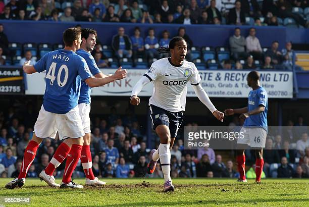 Nathan Delfouneso of Aston Villa celebrates scoring his goal during the Barclays Premier League match between Portsmouth and Aston Villa at Fratton...