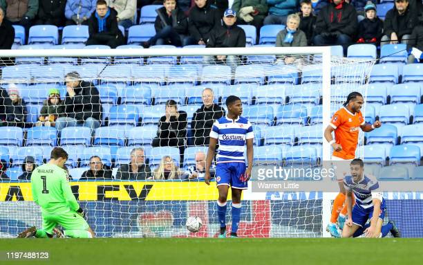 Nathan Delfouneso of Blackpool celebrates after scoring his team's first goal during the FA Cup Third Round match between Reading FC and Blackpool FC...