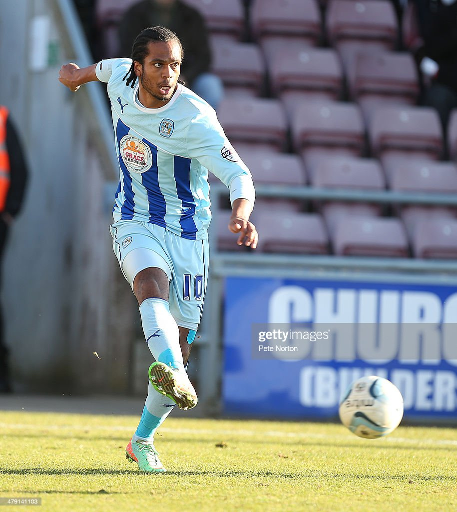 Nathan Delfouneso of Coventry City in action during the Sky Bet League One match between Coventry City and Port Vale at Sixfields Stadium on March 16, 2014 in Northampton, England.