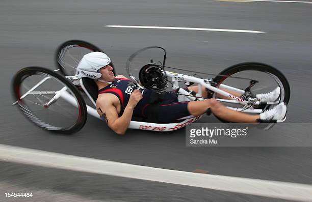 Nathan DeWalt of USA competes in the cycle leg of the Paratriathlon Male Tri-1 race on October 22, 2012 in Auckland, New Zealand.