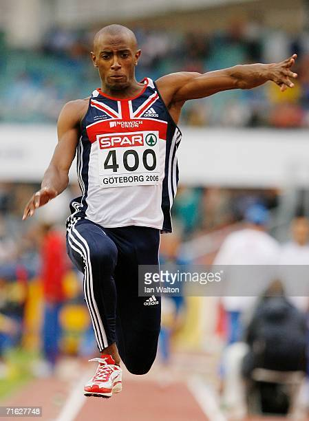 Nathan Douglas of Great Britain competes during the Men's Triple Jump Qualifying Round on day four of the 19th European Athletics Championships at...