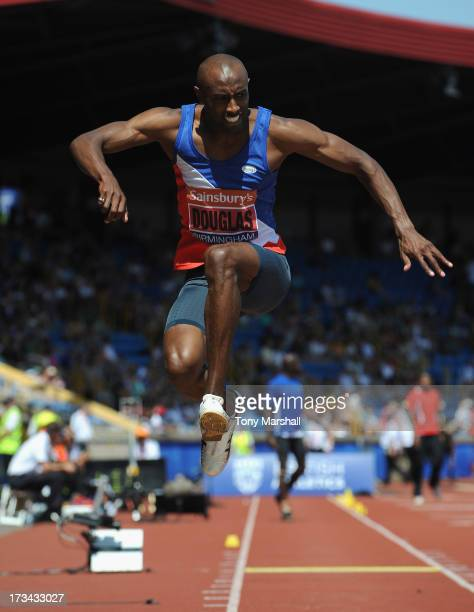 Nathan Douglas of Oxford City competing in the final of the Mens Triple Jump during the Sainsbury's British Championships Birmingham British...