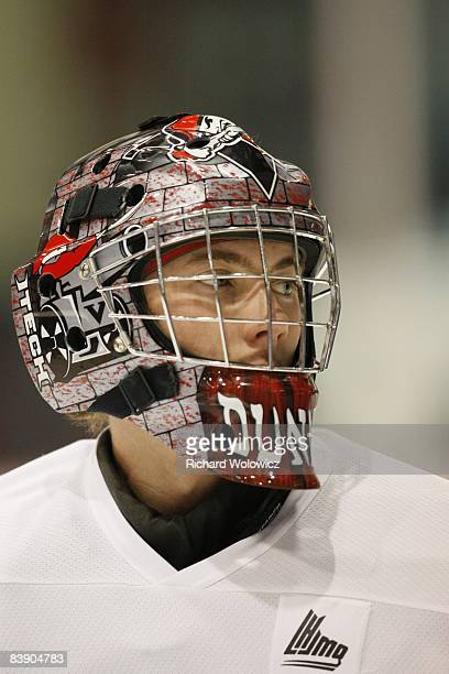 Nathan Dunnett of the Drummondville Voltigeurs skates during the warm up period prior to facing the Baie-Comeau Drakkar at the Centre Marcel Dionne...