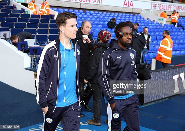 Nathan Dyer and Ben Chilwell of Leicester City ahead of the FA Cup third round match between Tottenham Hotspur and Leicester City at White Hart Lane...