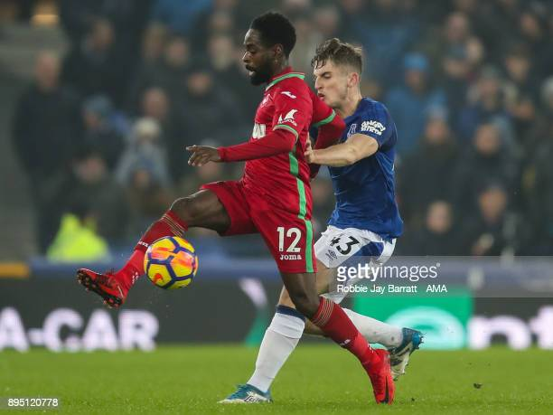 Nathan Dyer of Swansea City and Jonjoe Kenny of Everton during the Premier League match between Everton and Swansea City at Goodison Park on December...