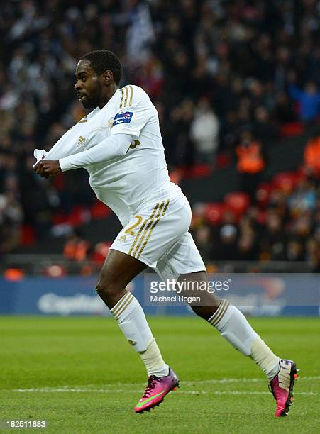 Nathan Dyer of Swansea City celebrates after scoring the opening goal during the Capital One Cup Final match between Bradford City and Swansea City...