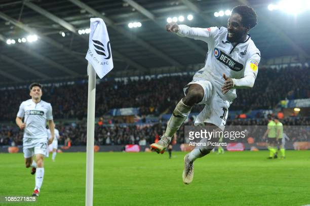 Nathan Dyer of Swansea City celebrates the opening goal scored by Oli McBurnie during the Sky Bet Championship match between Swansea City and...