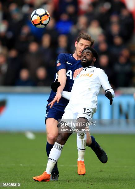 Nathan Dyer of Swansea City in action with Jan Vertonghen of Tottenham Hotspur during the Emirates FA Cup Quarter Final match between Swansea City...