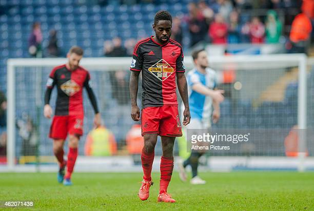 Nathan Dyer of Swansea City leaves the field with their heads down during the FA Cup Fourth Round match between Blackburn Rovers and Swansea City at...