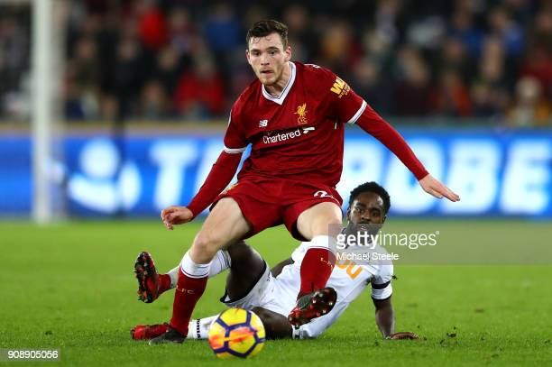 Nathan Dyer of Swansea City tackles Andy Robertson of Liverpool during the Premier League match between Swansea City and Liverpool at Liberty Stadium...