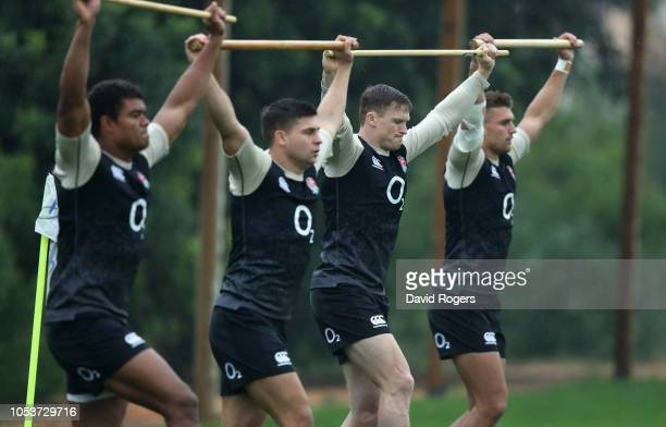 Nathan Earle Ben Youngs Chris Ashton and Henry Slade warm up during the England training session held at Browns Sport and Leisure Club on October 26...