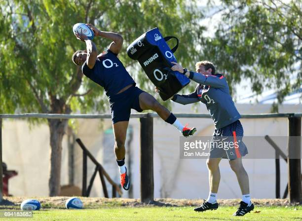 Nathan Earle of England claims the high ball during a training session at the Universitario Rugby Club on June 9 2017 in San Juan San Juan