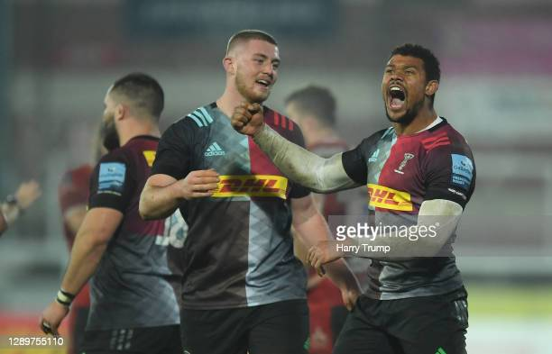 Nathan Earle of Harlequins celebrates victory at the final whistle during the Gallagher Premiership Rugby match between Gloucester and Harlequins at...