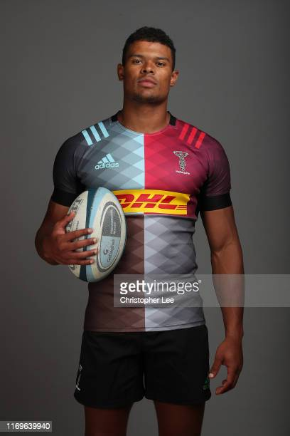 Nathan Earle of Harlequins during the Harlequins Squad Photo Call at Surrey Sports Park on August 21, 2019 in Guildford, England.