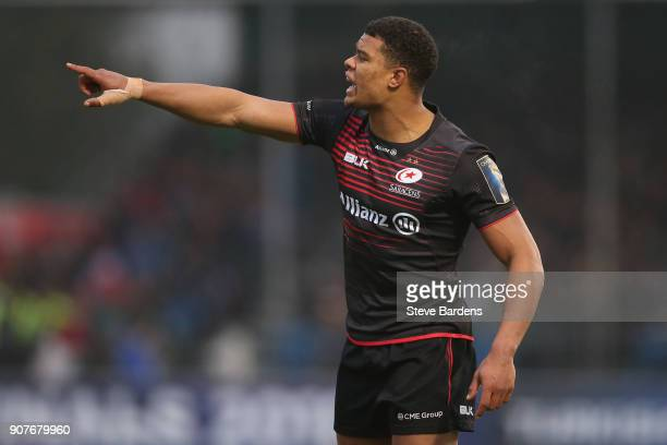 Nathan Earle of Saracens during the European Rugby Champions Cup match between Saracens and Northampton Saints at Allianz Park on January 20 2018 in...